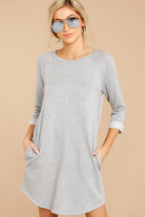 3 Movers And Shifters Grey Sweatshirt Dress at reddressboutique.com