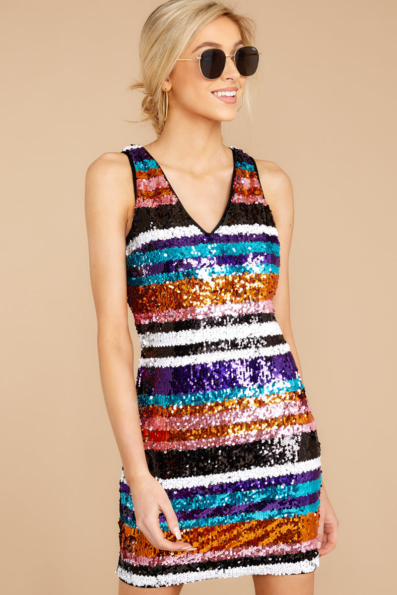 Give A Glam Orange Multi Sequin Dress