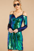 Polyester Cold Shoulder Long Sleeves Sweetheart Darts Back Zipper Sequined Bubble Dress Bodycon Dress