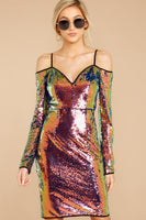 Sweetheart Cold Shoulder Long Sleeves Sequined Darts Back Zipper Polyester Bubble Dress Bodycon Dress