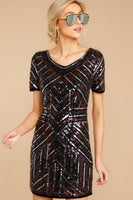 V-neck Striped Geometric Print Polyester Short Sleeves Sleeves Beaded Darts Hidden Side Zipper Sequined Fitted Dress