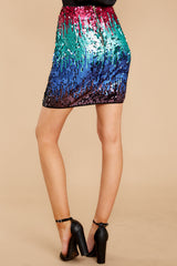 Glam Slam Pink Multi Sequin Skirt