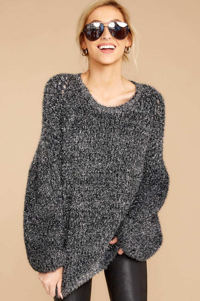 All Is Fair Black Chenille Sweater
