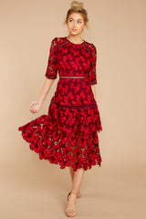 2 Get To The Point Red Lace Midi Dress at reddress.com