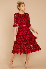 1 Get To The Point Red Lace Midi Dress at reddress.com