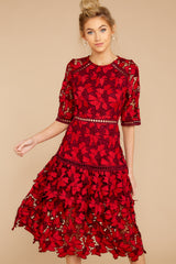 3 Get To The Point Red Lace Midi Dress at reddress.com