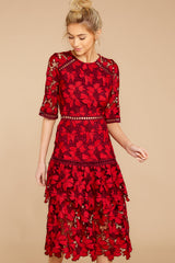 4 Get To The Point Red Lace Midi Dress at reddress.com