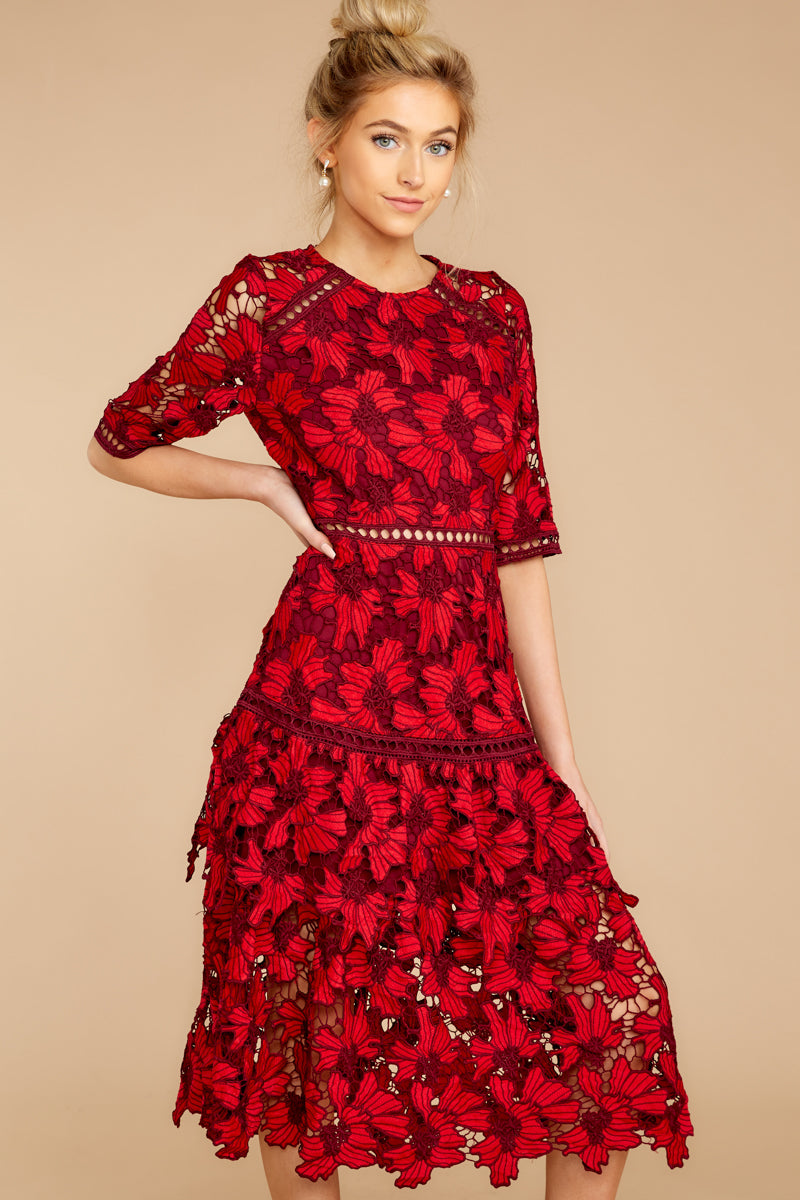 5 Get To The Point Red Lace Midi Dress at reddress.com