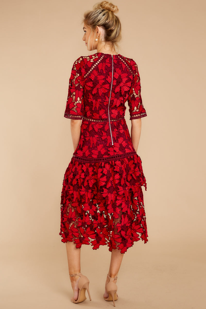 6 Get To The Point Red Lace Midi Dress at reddress.com