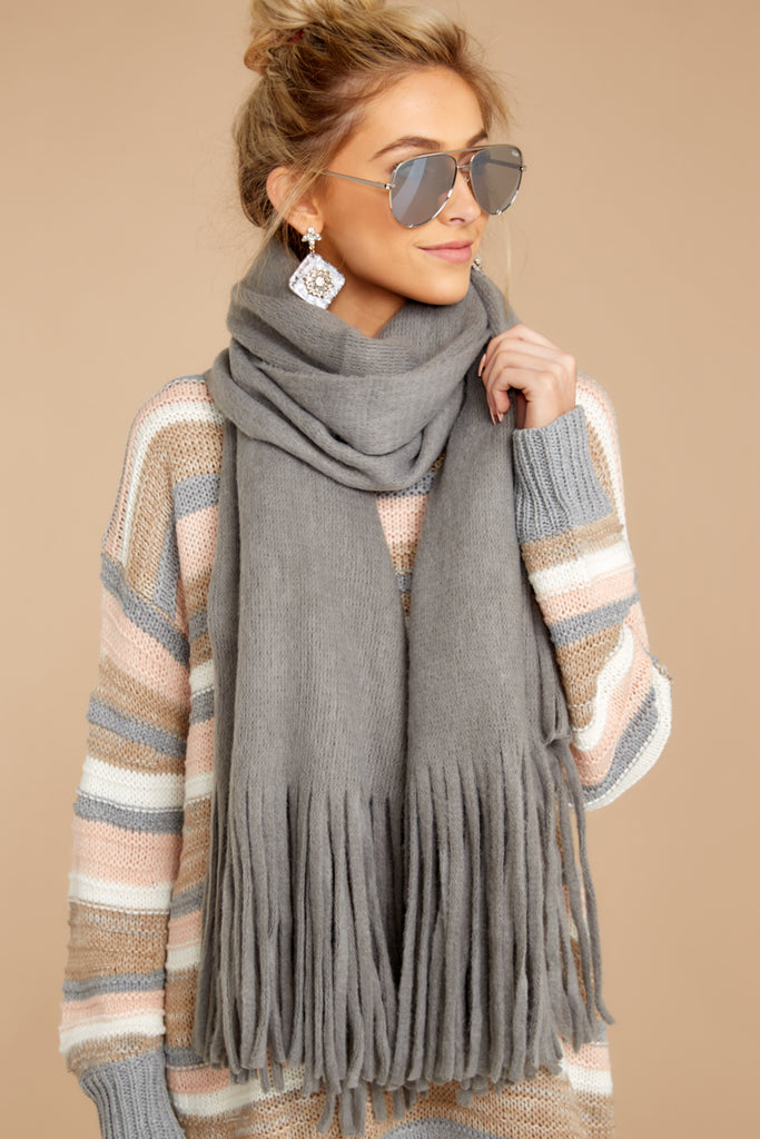 1 Barefoot Dreams CozyChic® Heathered Ash Pom Pom Beanie And Scarf Set at reddressboutique.com
