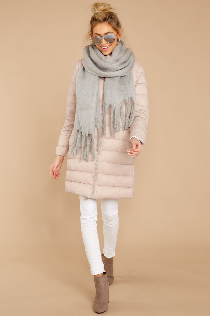 Shade Of Winter Dusty Pink Quilted Coat