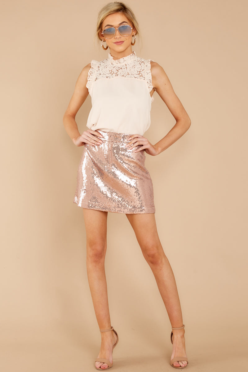 Looking Forward Rose Gold Sequin Skirt