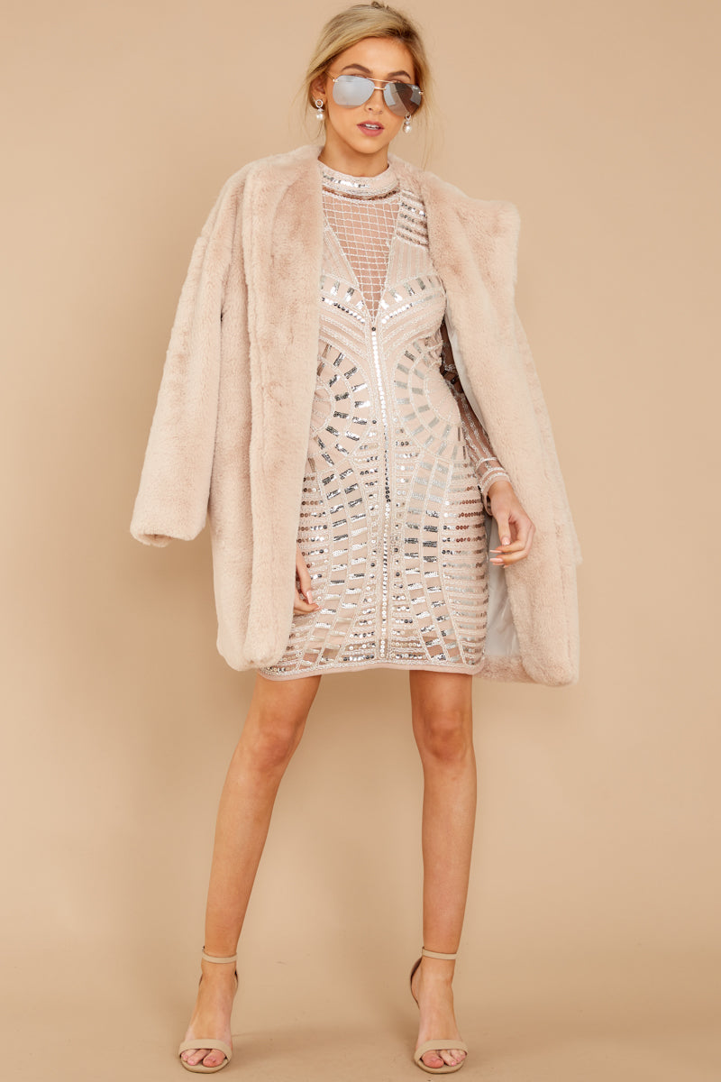 Just What You Think Beige Faux Fur Coat
