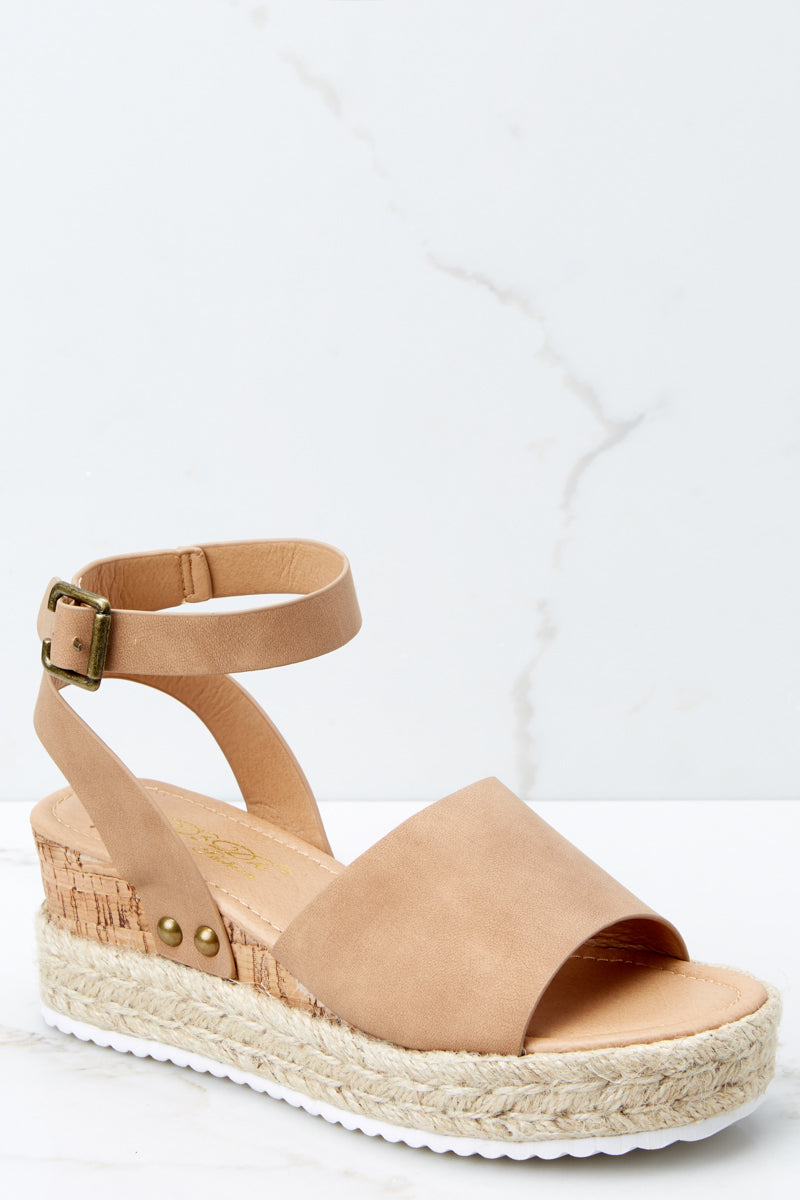 Meet Me Here Tan Flatform Sandal