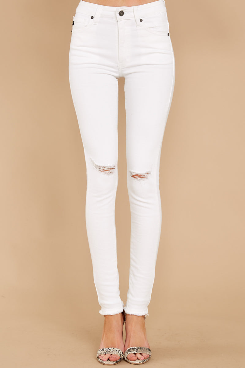 2 Simple Desires White Distressed Skinny Jeans at reddress.com