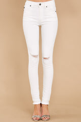 2 Simple Desires White Distressed Skinny Jeans at reddressboutique.com