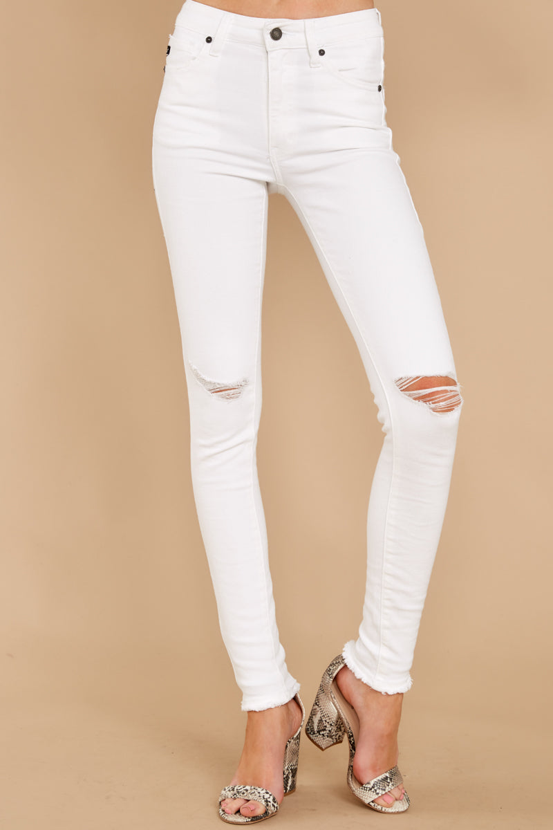 1 Simple Desires White Distressed Skinny Jeans at reddress.com
