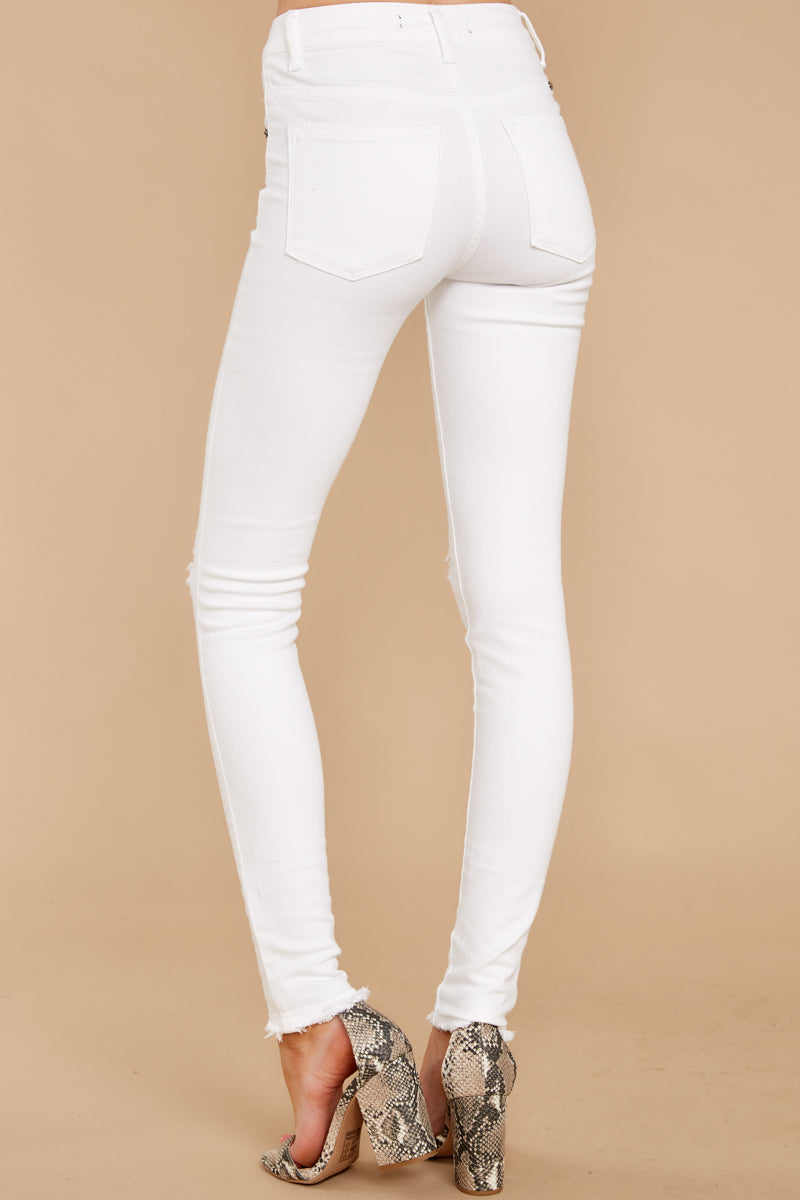 3 Simple Desires White Distressed Skinny Jeans at reddress.com