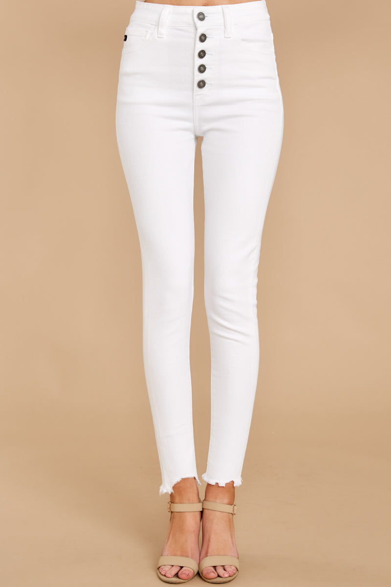 1309 Advanced Basics White Skinny Jeans at reddress.com