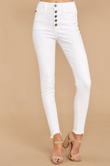 1308 Advanced Basics White Skinny Jeans at reddress.com