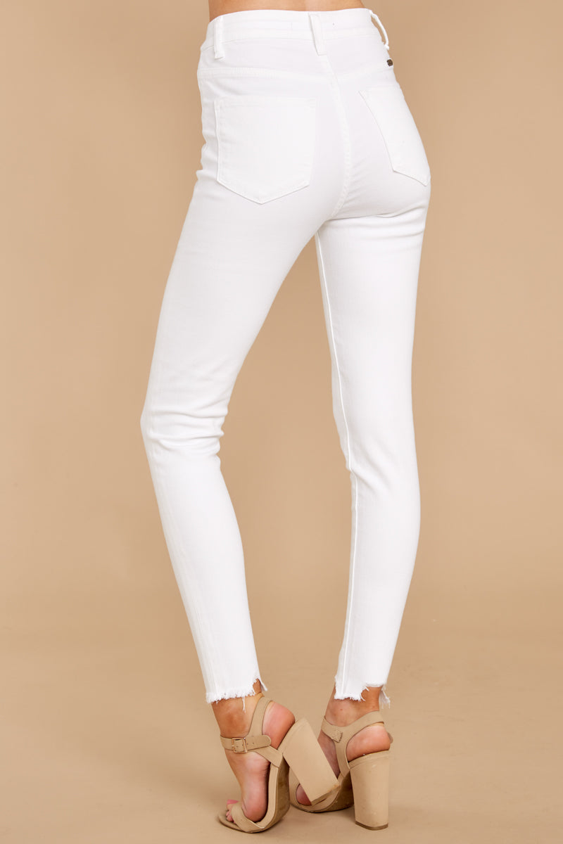 1310 Advanced Basics White Skinny Jeans at reddress.com
