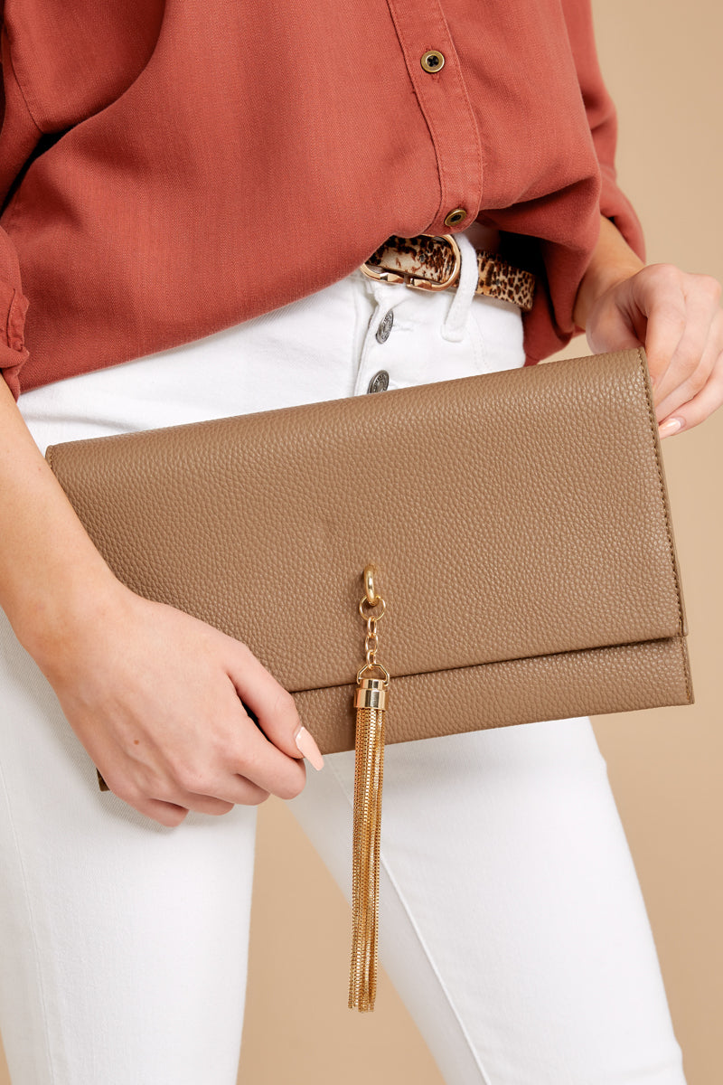 8 Downtown Baby Brown Tasseled Clutch at reddress.com