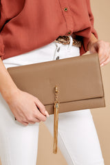 2 Stealing Hearts Brown Tasseled Clutch at reddressboutique.com