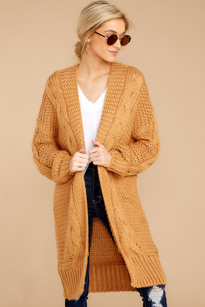 Stick With It Camel Cardigan