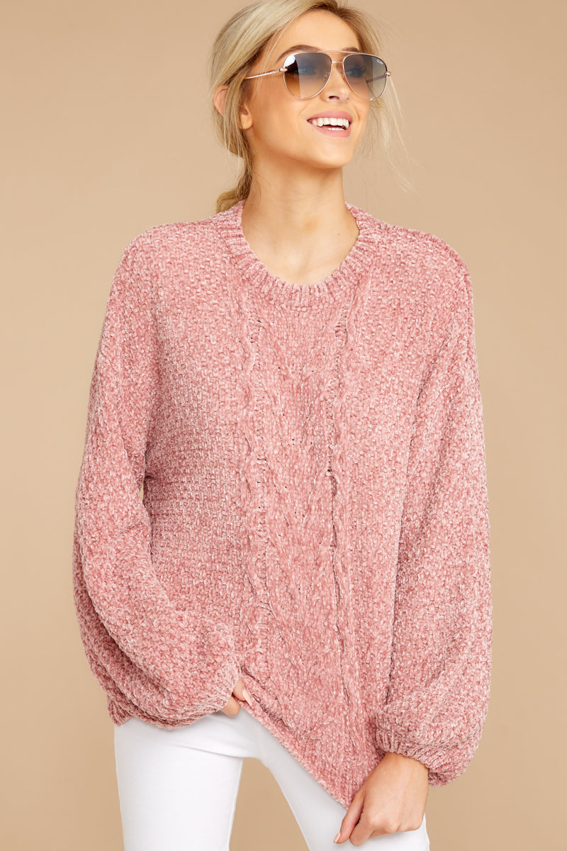 Such A Softie Pink Chenille Sweater