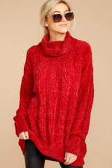 Cozy Content Red Chenille Turtleneck Sweater