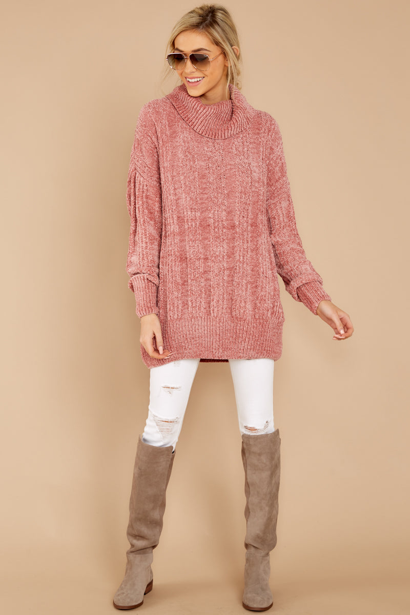 116c91b521 Darling Pink Chenille Knit Sweater - Chunky Turtleneck - Top ...