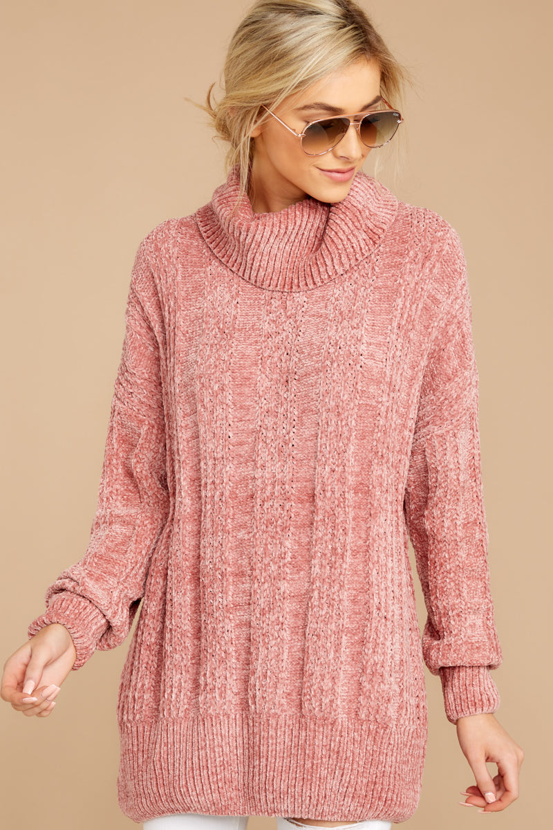 Cozy Content Pink Turtleneck Chenille Sweater