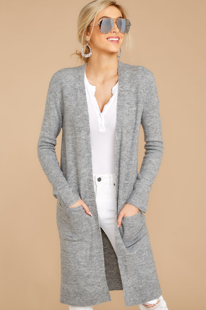 3 Leave It To Chance Heather Grey Stripe Cardigan at reddressboutique.com