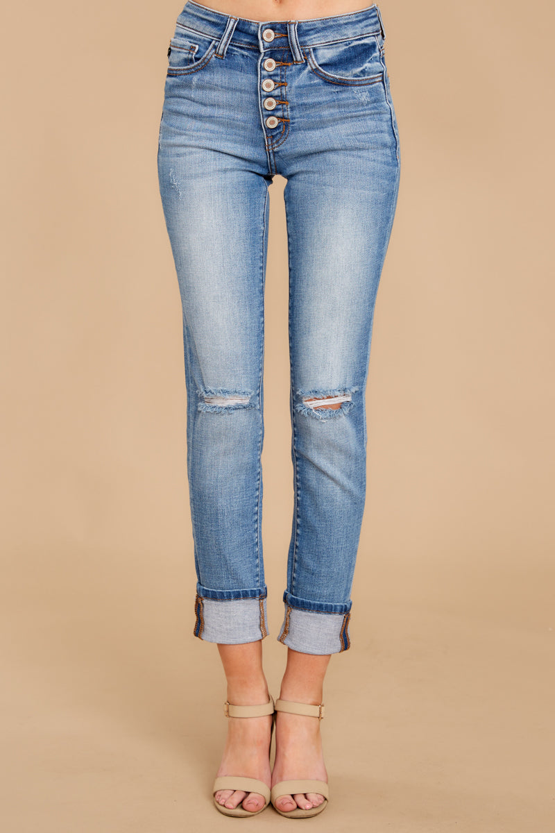 6 Look This Way Light Wash Distressed Skinny Jeans at reddress.com