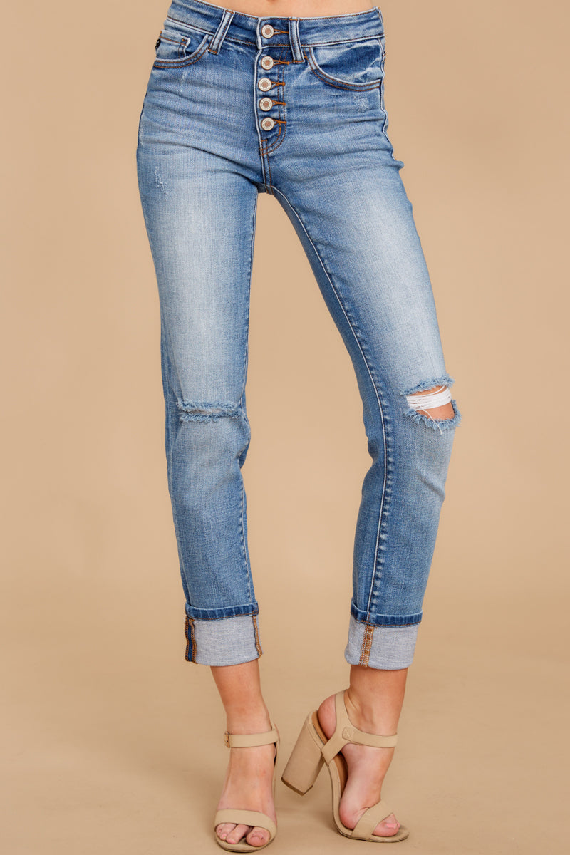 5 Look This Way Light Wash Distressed Skinny Jeans at reddress.com