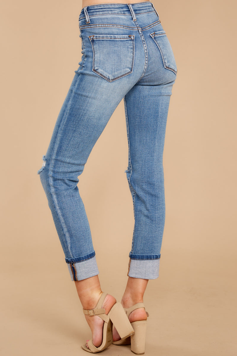 7 Look This Way Light Wash Distressed Skinny Jeans at reddress.com