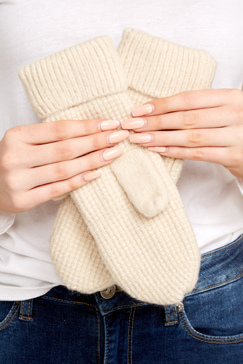 Comfort In The Cold Ivory Mittens