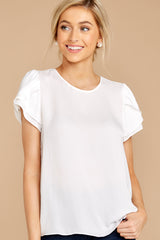 Ruffle And Hustle White Top