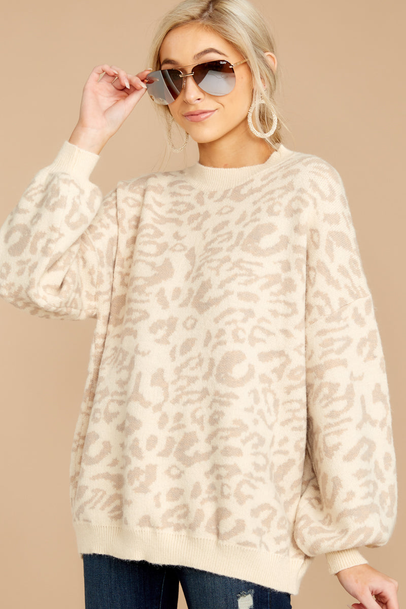 Endangered Beauty Beige Leopard Sweater at reddressboutique.com