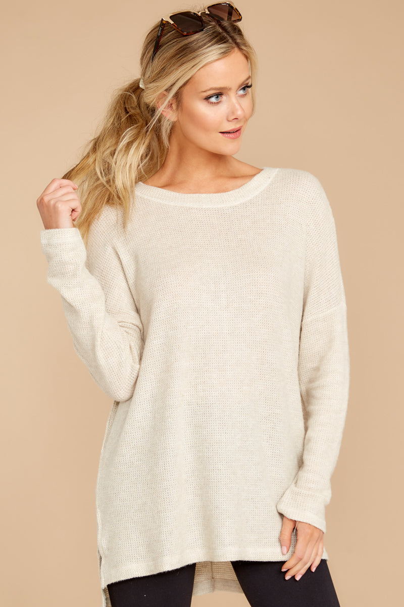 Simply Me Vanilla Cream Waffle Knit Top