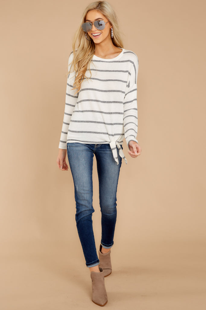 1 On My Life White And Grey Stripe Top at reddressboutique.com