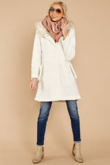 Snow Problems Ivory Fur Trimmed Coat
