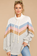 Peak Experience Grey Striped Pullover
