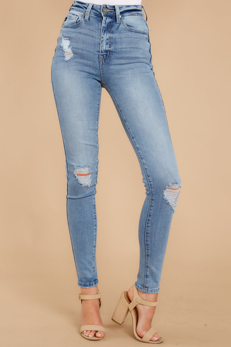 Have We Met Light Wash Distressed Curvy Skinny Jeans
