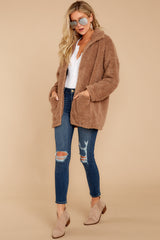 2 Sherpa Teddy Bear Coat In Toffee at reddressboutique.com