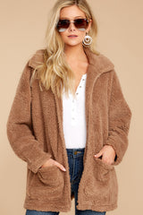 3 Sherpa Teddy Bear Coat In Toffee at reddressboutique.com