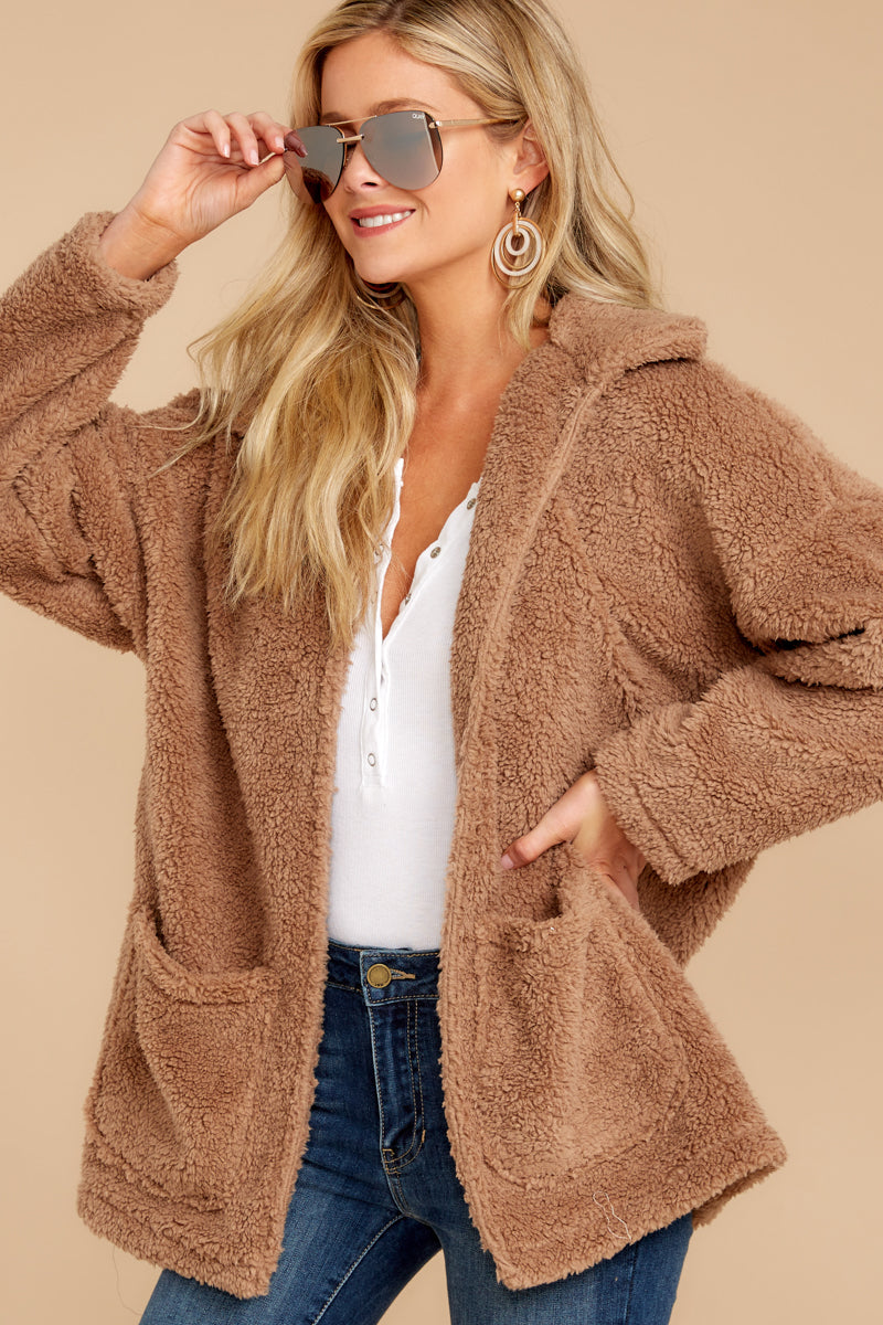 4 Sherpa Teddy Bear Coat In Toffee at reddressboutique.com