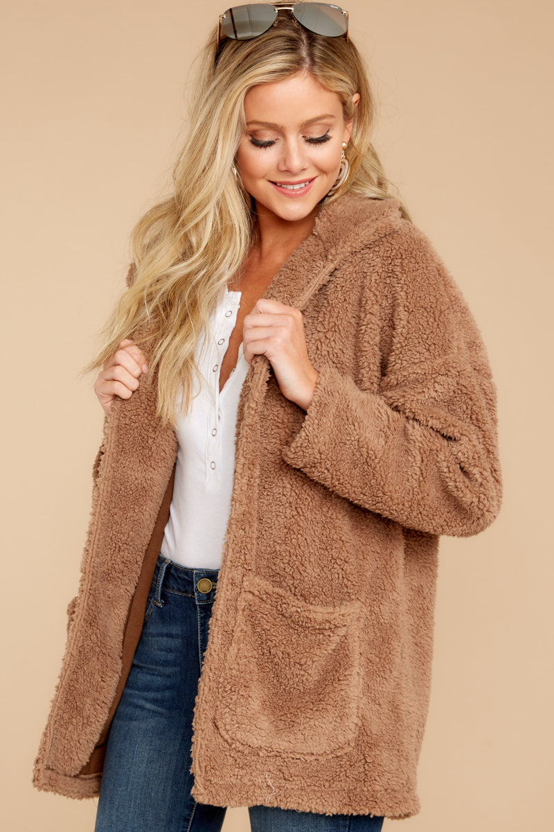 5 Sherpa Teddy Bear Coat In Toffee at reddressboutique.com