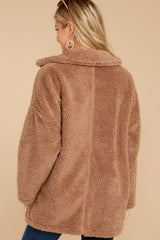 6 Sherpa Teddy Bear Coat In Toffee at reddressboutique.com