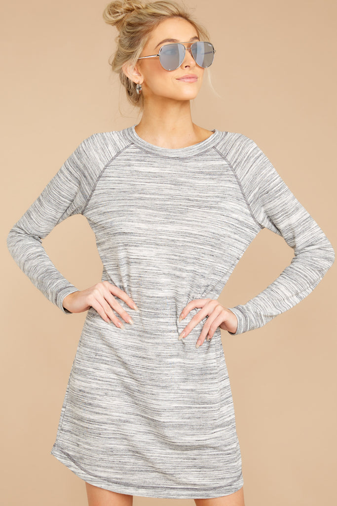 6 Do I Know You Grey Stripe Dress at reddressboutique.com